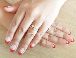 v cut red french nails