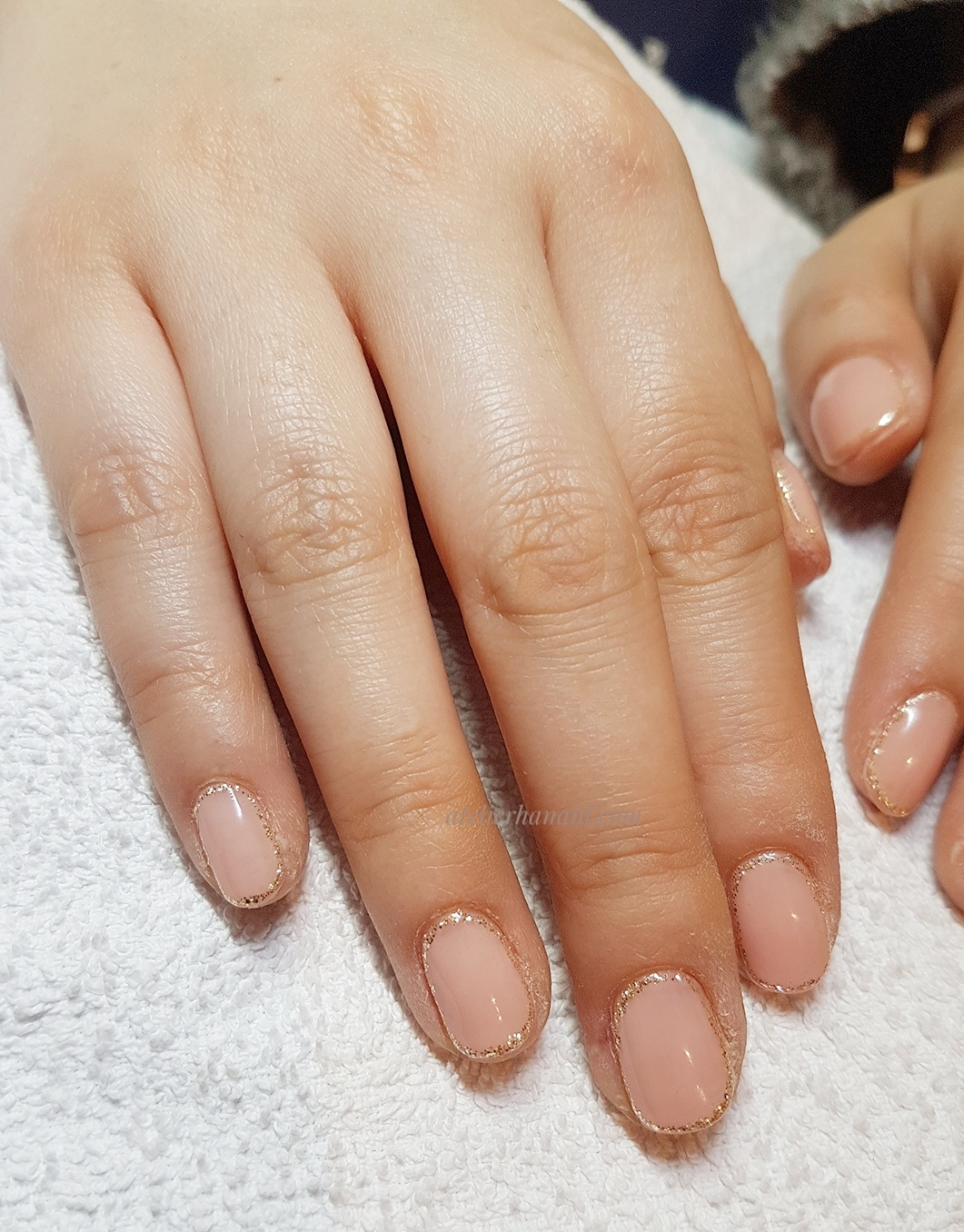 Nude colour plus glitter frame nail